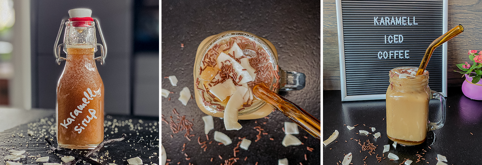 Iskaffe med karamelsirup