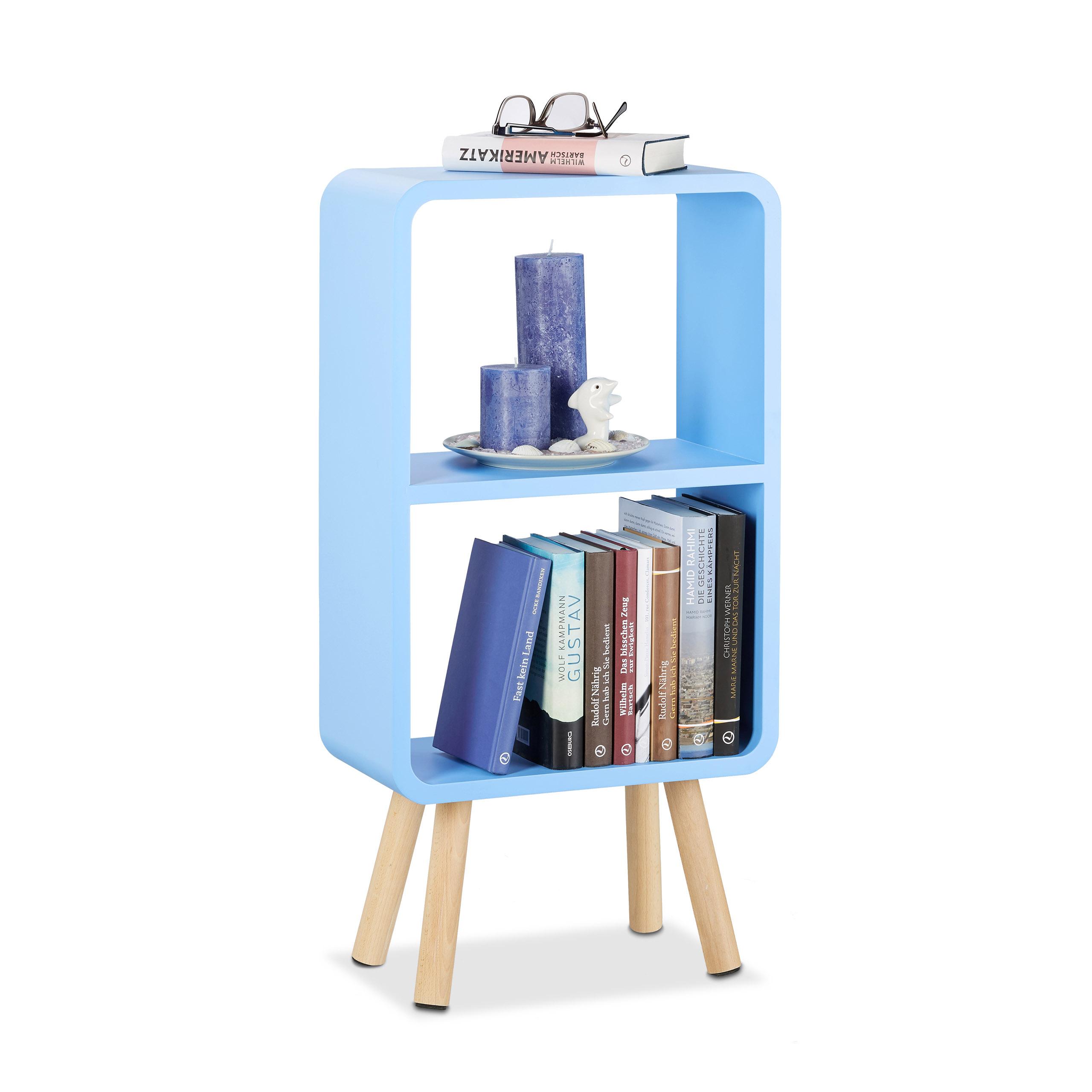 Wohnzimmer Regal mit Holzbeinen violett Relaxdays Standregal mit 2 F/ächern schmales B/ücherregal ohne Schubladen