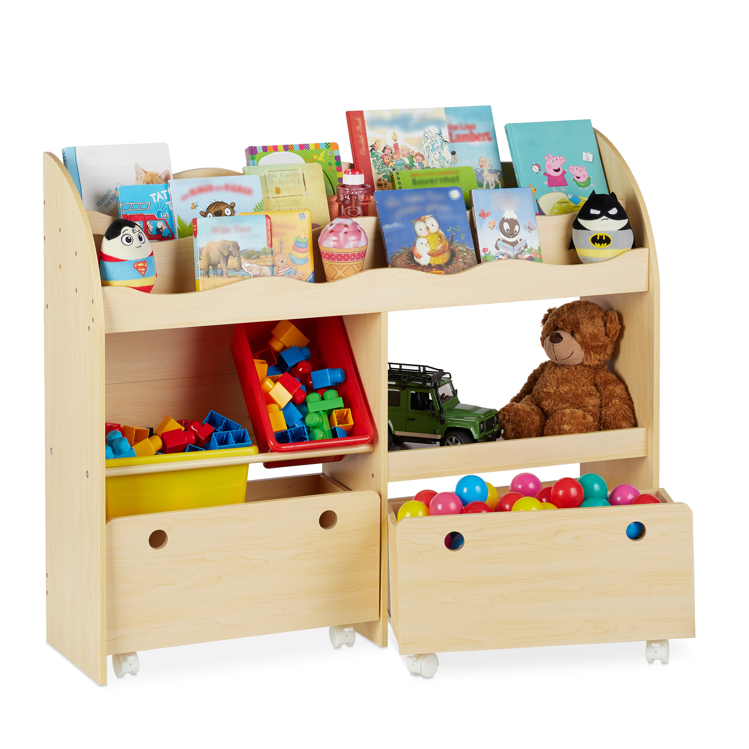 Relaxdays Kinderregal mit 9 Stoffboxen Meerjungfrau Kindermotiv 1 St/ück bunt Spielzeugregal Organizer HBT 66 x 82,5 x 29,5 cm