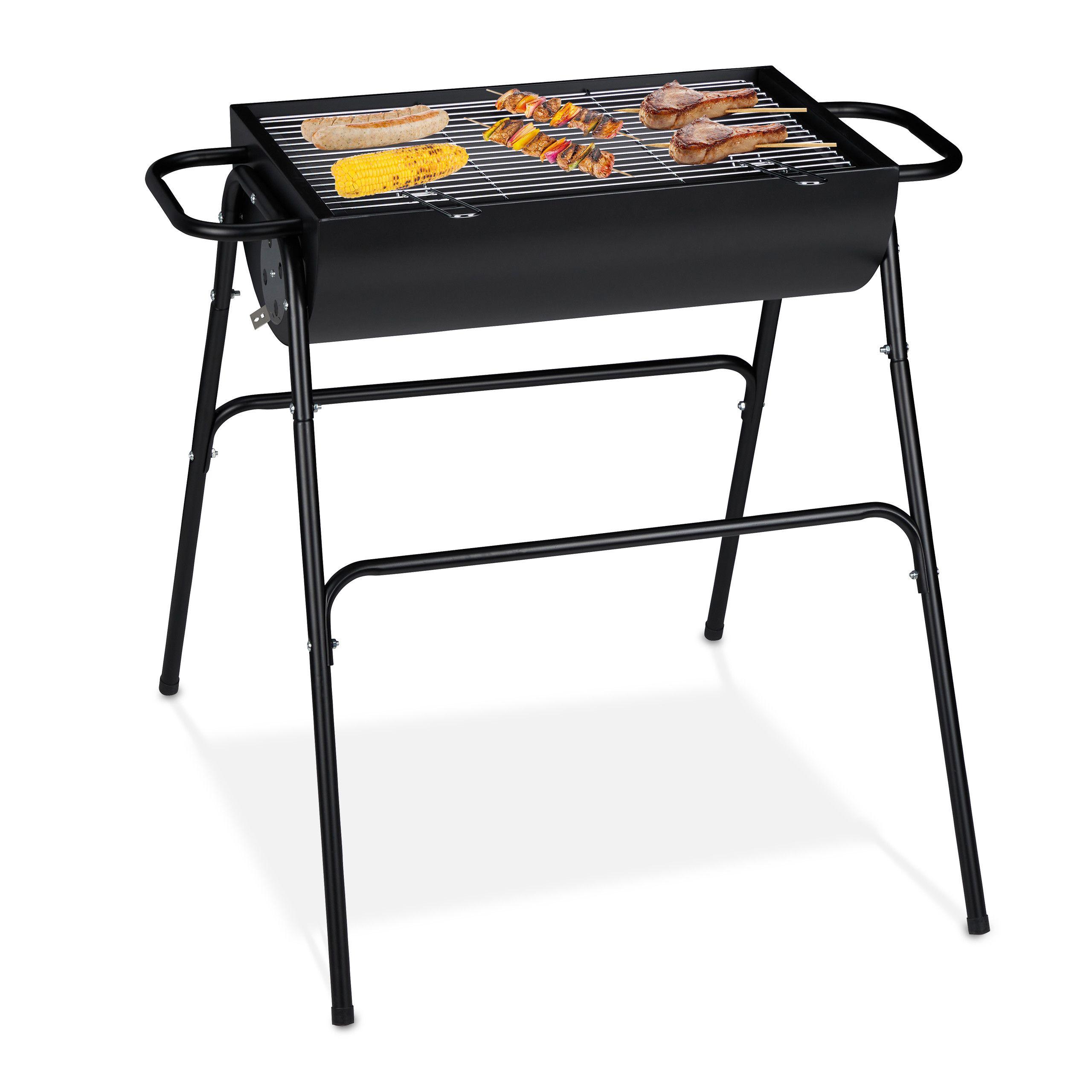 tragbar Kohlebeh/älter Relaxdays Grilleimer /Ø 26,5 cm schwarz Picknick Holzkohlegrill Balkon /& Camping mit Rost