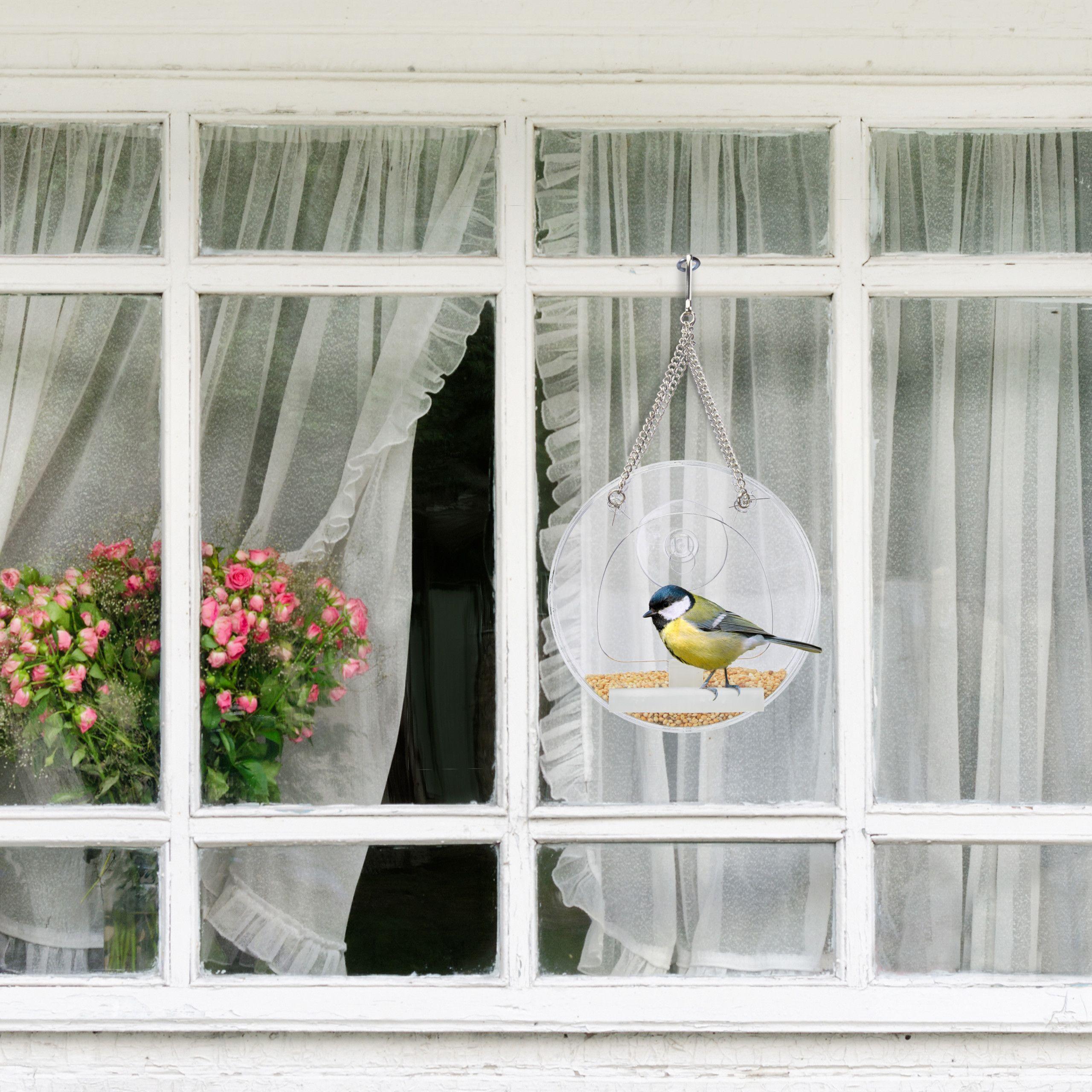 mangiatoia per uccelli 15 x 7 x 16 cm con ventosa trasparente in acrilico