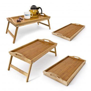4x Betttablett Serviertablett 50x30 Frühstückstablett klappbar Bambus Bett Tisch
