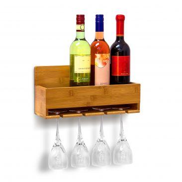 Weinregal mit Glashalter für 4 Gläser