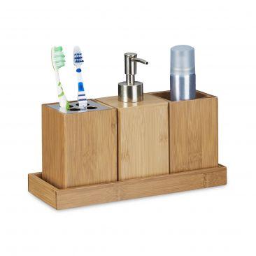 Bad-Accessoires-Set im natürlichen Bambus Design