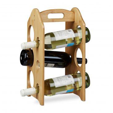 Weinregal aus Bambus für 6 Weinflaschen