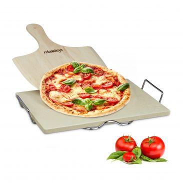 Cordierit Pizzastein im Set aus Pizzaschaufel