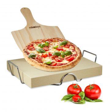 Pizzastein Set 5 cm stark mit Holz Pizzaschieber
