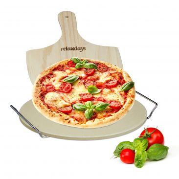 Pizzastein Set mit Metallhalter und Pizzaschaufel