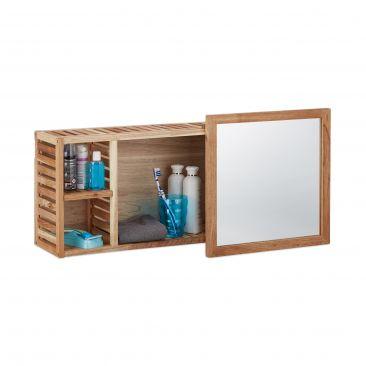 Wandregal mit Spiegel aus Walnuss Holz fürs Bad