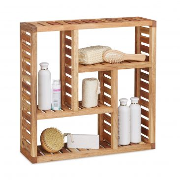 Wandregal aus Walnuss Holz mit 5 Fächern