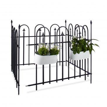 Gartenzaun Metall mit 4 Zaunelementen in Schwarz