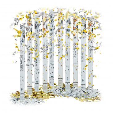 Set da 10 cannoni sparacoriandoli oro e argento 80 cm per feste e compleanni