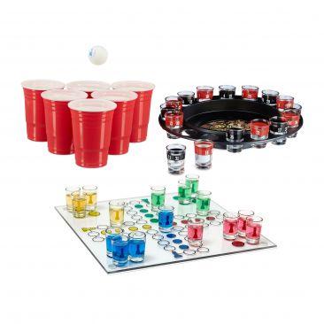 XXL Trinkspiel Set Beer Pong Partyspiel Roulette Drinking Ludo Saufspiel ab 18