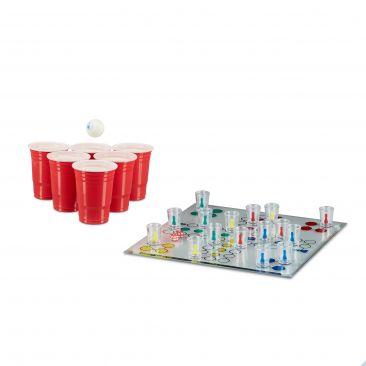 Trinkspiel Set 2 Teile Drinking Ludo Beer Pong Becher rote Party Cups Saufspiel