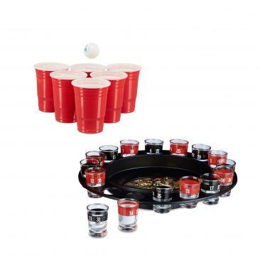 Trinkspiel Set 2 teilig US Beer Pong Becher rot Trink-Roulette Schnaps-Roulette