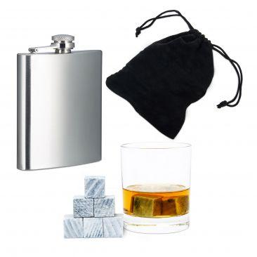 Whisky SET 11 Teile Flachmann Edelstahl 9 Whisky Steine Speckstein Stoffbeutel