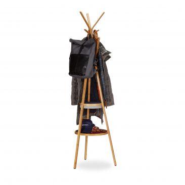 Bambus Garderobe mit Ablagen Gesamtansicht