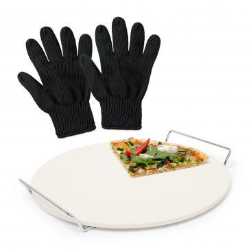 3er Pizzaset Pizzastein Backstein Cordierit Hitzeschutz Grillhandschuh feuerfest