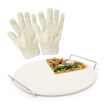 33 tlg Pizzaset Pizzastein Backing Stone Hitzeschutz Handschuh Grillhandschuh