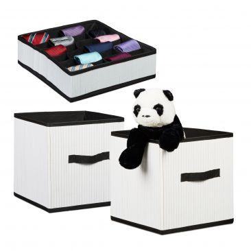3er Aufbewahrungsset Krawattenbox Aufbewahrungsbox Faltbox aus Bambus Organizer