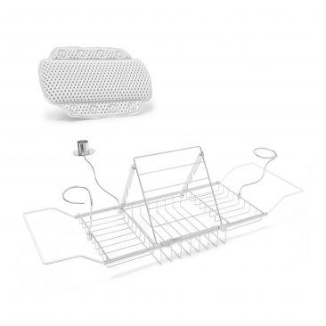 2er Bade Set Badewannen Tablett ausziehbar Glashalter Badewannenkissen Saugnapf