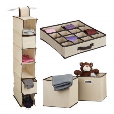 4er Aufbewahrungs Set Schrank Hängeregal Faltbox Regalbox Krawattenbox Organizer