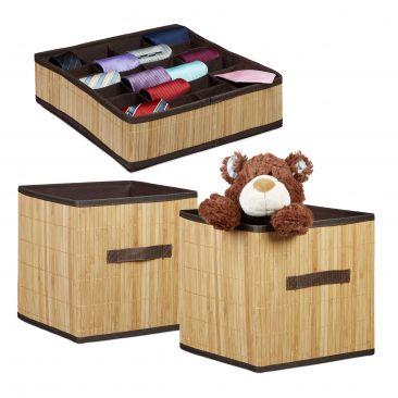 3er Aufbewahrungsset Aufbewahrungssystem Organizer Krawattenbox Faltbox natur
