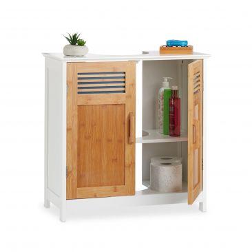 Waschbeckenunterschrank mit Bambustüren Gesamtansicht