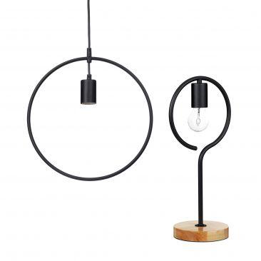 Set de dos lámparas KONTUR, Lámpara mesa, Lámpara colgante sin pantalla