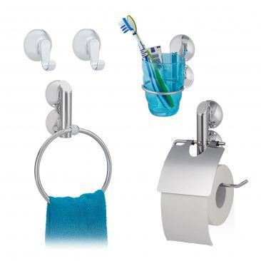 4 tlg. Badgarnitur Set Wandhaken Saugnapf Handtuchhalter Toilettenpapierhalter