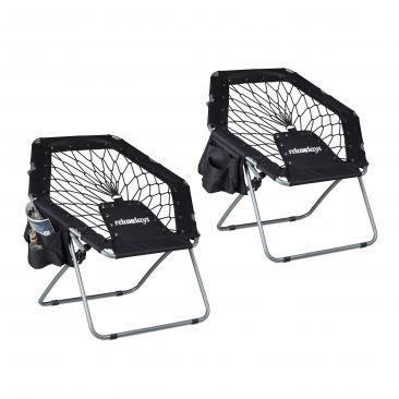 2 x bungee stoel WEBSTER - elastiek - bungee chair - opklapbaar - zwart