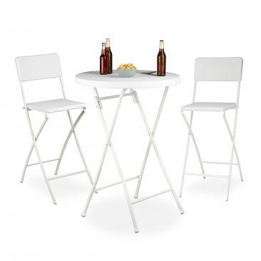 3 tlg. Stehtisch Set BASTIAN Deluxe 2 Barstühle Klappstuhl Klapptisch Stehtisch