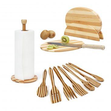 3 tlg. Küchenutensilien Set gestreift Schneidebretter Kochlöffel Küchenpapier
