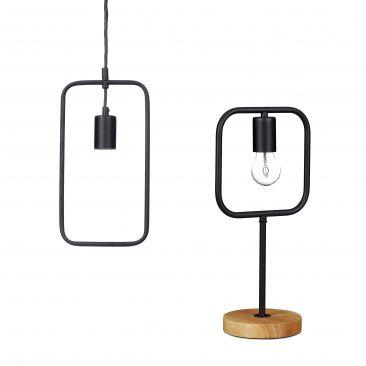 Set de dos lámparas KONTUR, Lámpara mesa negra, Lámpara techo moderna