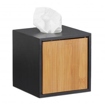 Kosmetiktücherbox schwarz mit Bambus-Seite