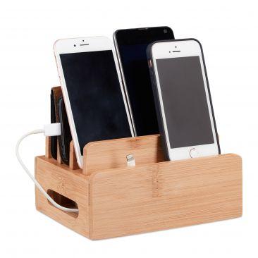 Bambus Ladestation für 6 Geräte Gesamtansicht