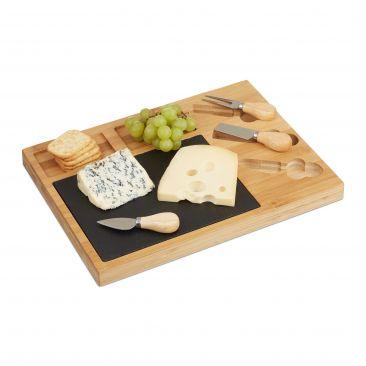 Käsebrett Set mit 3 Käsemesser Gesamtansicht