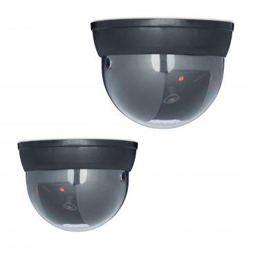 2er Set Dummy Kamera Sicherheitskamera Kameraattrappe mit LED Überwachungskamera