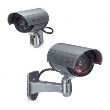 2er Set Dummy Kamera CCD Sicherheitskamera drahtlos Kamera Attrappe Überwachung
