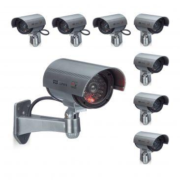 8er Set CCD Kamera Dummy Sicherheitskamera mit LED-Licht Kamera Attrappe Camera