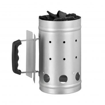 Silberner Anzündkamin aus Stahl