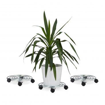 3x Rollbrett Blumen Pflanzenroller mit Bremse 4 Rollen rund Blumenroller Metall