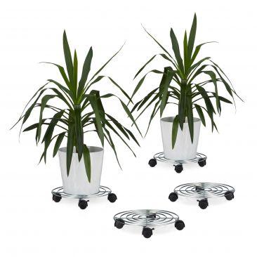 4x Blumenroller Metall Rollbrett Blumen Pflanzenroller mit Bremse 4 Rollen rund