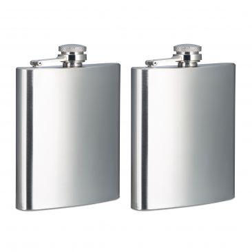 2x Flachmann silber Tasche 200 ml Taschenflachmann 7 oz Taschenflasche Edelstahl