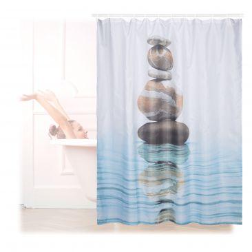 Duschvorhang Steine auf Wasser 180x180cm Gesamtansicht