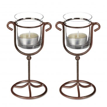 2 x Candle Holder Tea Light Holder Cast Iron Single, Metal & Glass; Brown