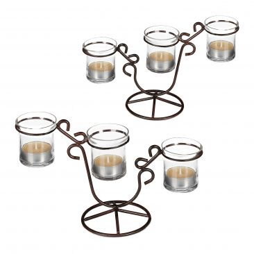 2 x Candle Holder Tea Light Holder Cast Iron Triple Holder, Metal & Glass; Brown