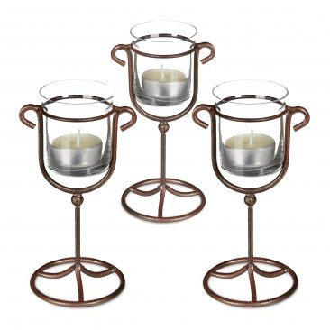 3 x Candle Holder Tea Light Holder Cast Iron Single, Metal & Glass; Brown