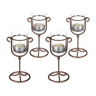 4 x Candle Holder Tea Light Holder Cast Iron Single, Metal & Glass; Brown