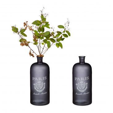 2x Bodenvase Aufdruck Blumenvase Dekoflasche Glasvase Standvase Dekovase Glas
